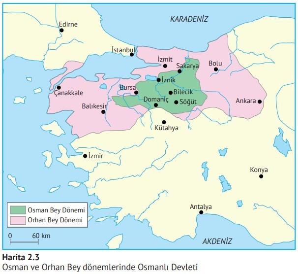 Osman-Bey-ve-Orhan-Bey-Döneminde-Osmanlı-Devleti-harita