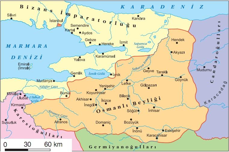 Osmanlı-beyliği-kuruluş-dönemi-haritası